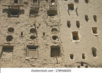 Exterior wall of the mud brick tower house in Shibam,Yemen