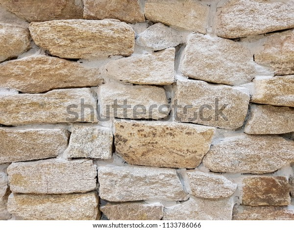 Exterior Wall Stacked Stone Wall Texture Stock Photo Edit
