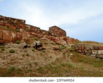 Exterior walls of the ancient urartian fortress Erebuni, one of the oldest extant strongholds in the world, it founded in 782 BC, Yerevan, Armenia