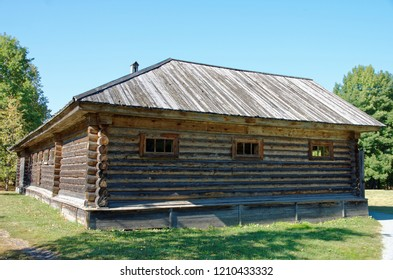 Exterior of wooden stables.