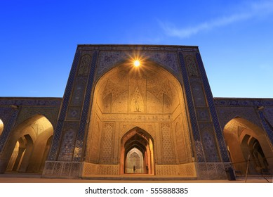 Exteriors of Vakil mosque during blue twilight