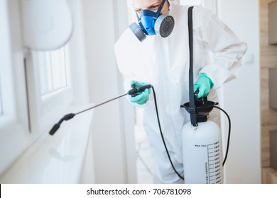 Exterminator in workwear spraying pesticide with sprayer.