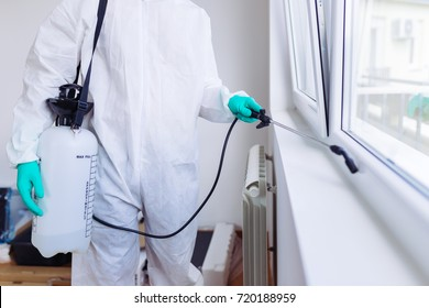 Exterminator In Workwear Spraying Pesticide With Sprayer