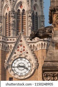 External architecture of Mumbai University buildings located at the Fort campus in south Mumbai. Detailed stone carvings are visible on the walls.