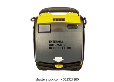 External automatic defibrillator isolated on white