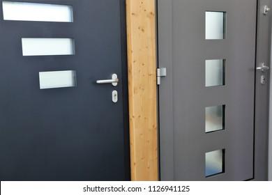 External doors and interior doors in the showroom