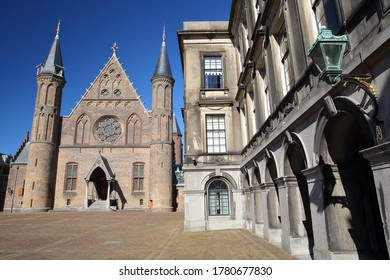 The external facade of the Ridderzaal (Knight's Hall), which forms the center of the Binnenhof (13 century gothic castle) in The Hague, Netherlands