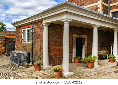 External fragment of Ham House. Ham House, located alongside River Thames in Ham, south of Richmond in London - one of Europe's greatest XVII century houses still in existence today. UK.