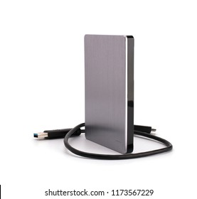 External Hdd drives 2.5 and 3.5 inch and flash drives on white isolated background