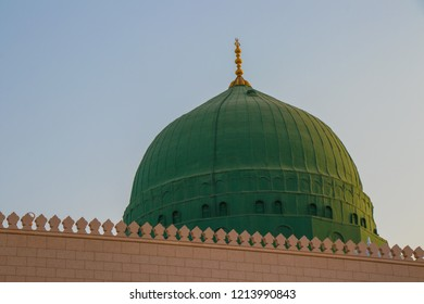 An external image of the Prophet's Mosque in Medina in Saudi Arabia, The  green dome  of the mosque. Masjid Nabawi