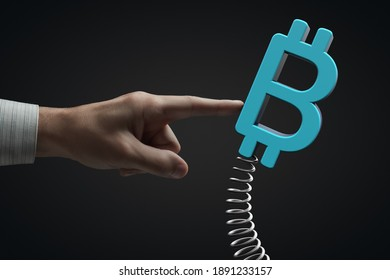 External influence on the market. Cryptocurrency volatility. Bitcoin symbol.