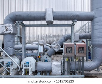 External infrastructure of the microclimate support system at a large industrial site. Air pipelines inlet and exhaust. Fans and air conditioning. Systems of control of pressure, humidity, temperature