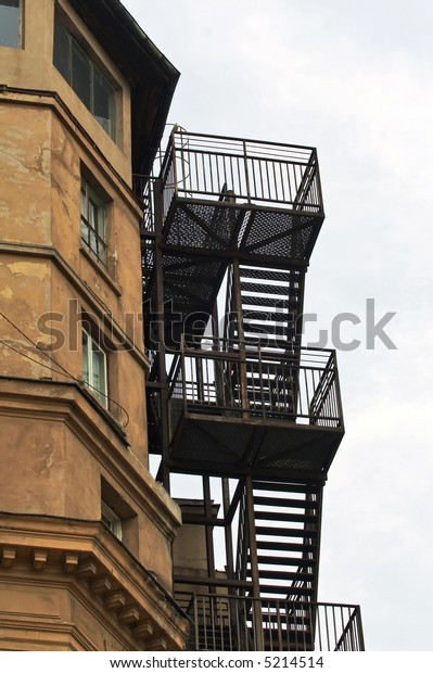 External metallic staircase of an old building