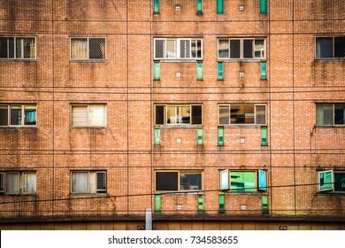 external orenge pattern brick outside the building in Taipei, Taiwan