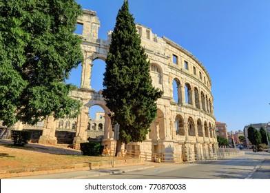 External shot of the Amphitheater ruins in Pula, Istria, Croatia, Europe