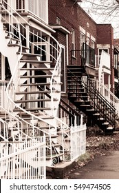External stairs of the houses in Montreal, Canada