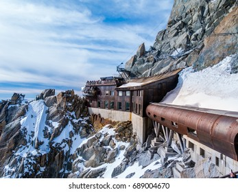 External view of the Aiguille du Midi station platform, in Chamonix, France.