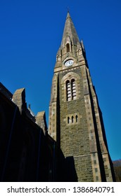 An external view of the architectural detail on a church building in the Perthshire town of Comrie