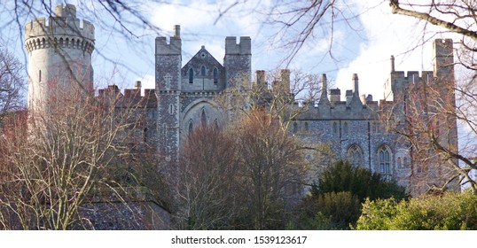 External view of Arundel Castle behind the trees
