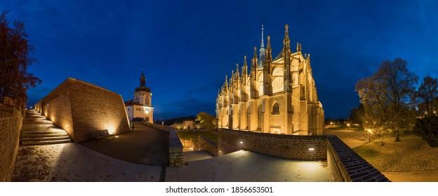 External view of the beautiful St Barbara's Church at Kutná Hora, Czech Republic. UNESCO world heritage. Night or dusk scene.  - Shutterstock ID 1856653501