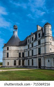 External view of Chambord castle (1519) is largest of Loire Chateau. It distinct French defensive architecture combines with classical Italian.