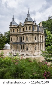 External view of Chateau de Monte-Cristo (1846) - beautiful XIX century building in Port-Marly (20 km from Paris). France.