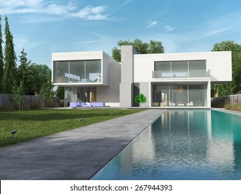 External view of a contemporary house with pool, 3D rendering