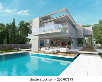 External view of a contemporary house with pool