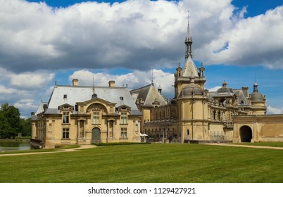 External view of famous Chantilly Castle, 1560 - a historic castle located in town of Chantilly, Oise, Picardie, France.