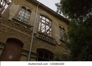 External view of Ferri pavilion ruins, the judicial psychiatric hospital special area of abandoned asylum of Volterra, Tuscany, Italy 18/12/2011. Volterra sanitarium was shut down in 1978.