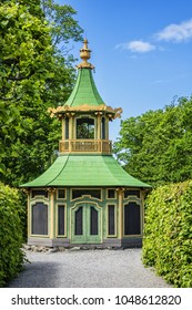 External view of fragments of Chinese Pavilion (Chinaslott, 1753) in the grounds of Public Park near Drottningholm Palace in Stockholm, Sweden. Drottningholm Palace is a UNESCO World Heritage site.