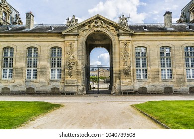 External view of Grand Stables near Chateau de Chantilly (1560). Chantilly Castle is located in town of Chantilly. Oise, Picardie, France.