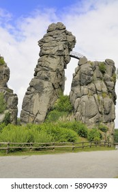 Externsteine near Detmold Germany is a Sandstone formation whose withered shapes have talked to the Mystic sides of Man ever since the Stone Ages. The Rocks have been the Scenery for Cultic Rites.