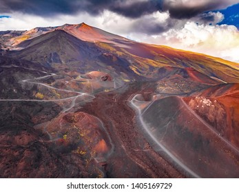 Extinct crater of volcano Etna Sicily, Italy. Panoramic aerial photo. Top view.