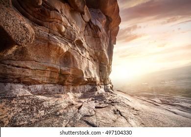 Extinct volcano Bektau Ata in the desert at beautiful sunset in Kazakhstan