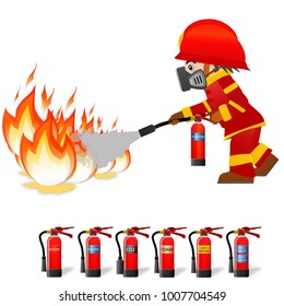 Extinguish fire. Fireman hold in hand fire extinguisher. Isolated on background. Protection from flame. Powder from nozzle.A man demonstrating how to use a fire extinguisher. Fireman wear toxic mask.