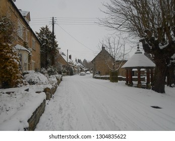 EXTON, RUTLAND, UK - DECEMBER 10 2017: A Rutland Village in the Snow