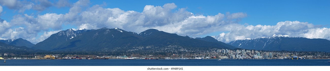 Extra High Resolution Panorama Image of North Vancouver in a Sunny Day