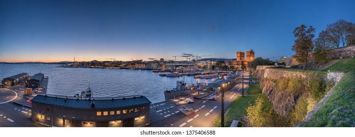 Extra Large beautiful panorama of Oslo center and Oslo Fjord during summer twilight taken from Akershus Fortress.