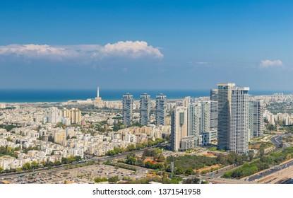 Extra large Panorama Of Tel Aviv Skyline,  Tel Aviv Cityscape Large Panorama At Day, Israel