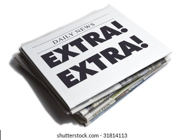 Extra Extra newspaper isolated on white background