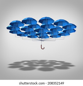 Extra security concept as a wide group of blue umbrellas connected together as one umbrella as a symbol of supplemental full protection.