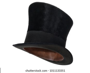 Extra tall black vintage top hat, isolated on white background. Almost straight side view. Tilted up a little, showing the interior leather band.