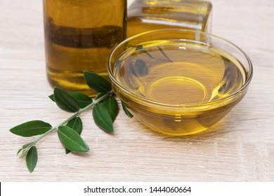 extra virgin olive oil in glass container