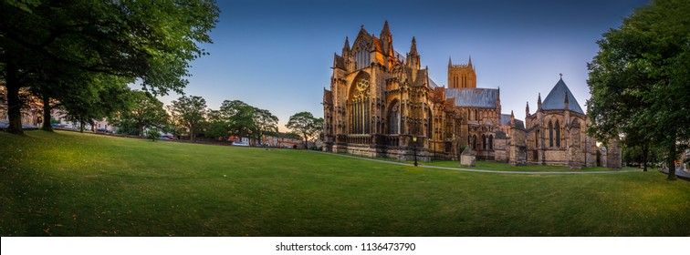 Extra wide angle shot of Lincoln Cathedral and Green, Lincoln, Lincolnshire, United Kingdom