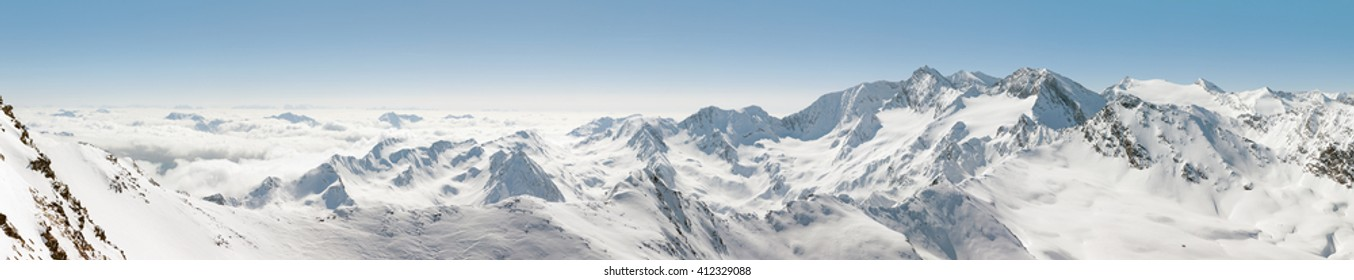 Extra wide panoramic view of the Alps in Austria