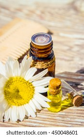 extract of chamomile in a small bottle milking cosmetics and treatment