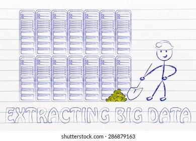 extracting big data: metaphor of man digging for gold nuggets in a server room, symbol of valuable data