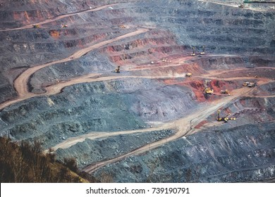 Extraction of iron ore. Mining machinery. Excavators and drilling machines