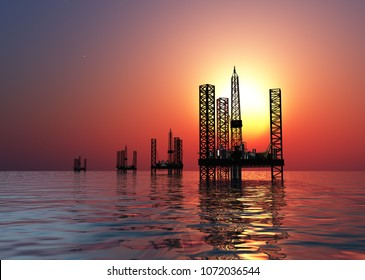 Extraction of oil in the sea..,3d render